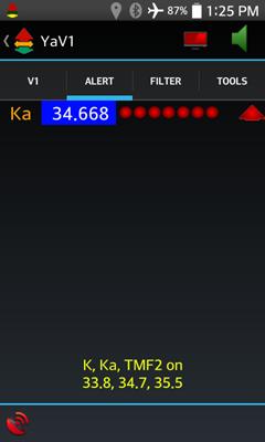 YaV1 alert display