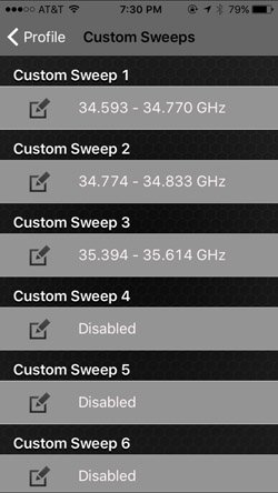 Custom Sweeps Settings