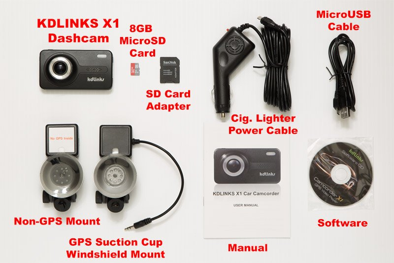 KDLINKS X1 Dashcam everything included labeled 800