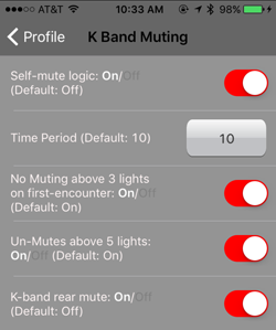 K Band Muting Settings