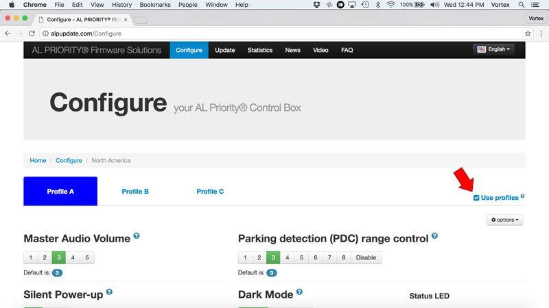 Configure Net Radar online: Enable profiles