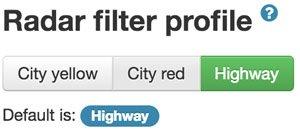 Radar filter profile