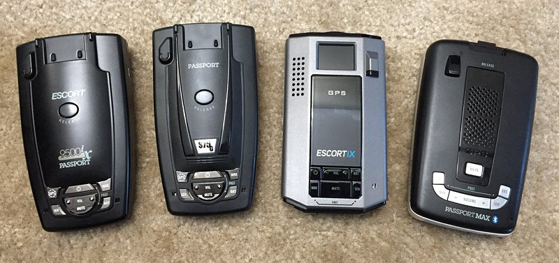 Escort iX Review: Escort 9500ix, S75G, iX, and Max2 side-by-side