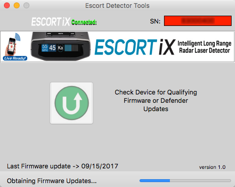 Updating the Escort iX with Detector Tools