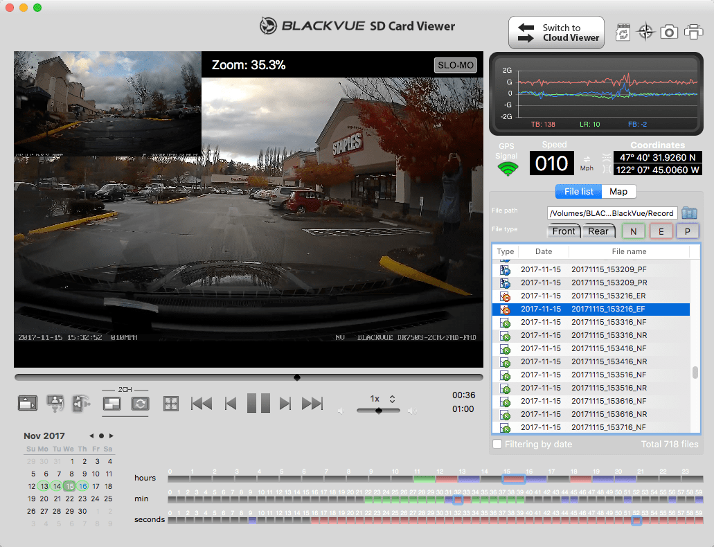Blackvue DR750S-2CH Review Software Screenshot