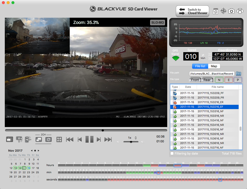 Blackvue DR750S-2CH Review Software Screenshot