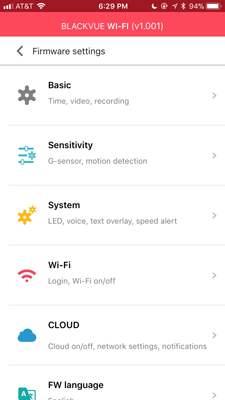 Blackvue DR750S-2CH Review Settings WiFi App