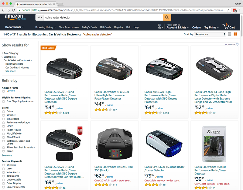 Cobra Radar Detectors on Amazon