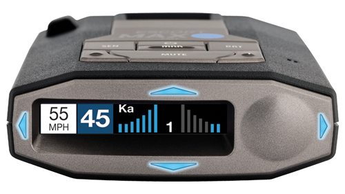 Escort Max 360c radar detector front display