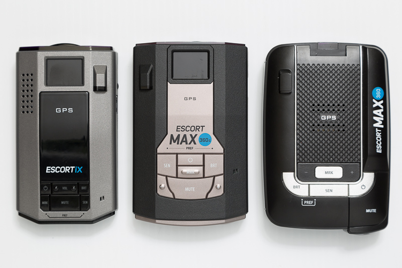 Escort iX, Max 360c, and Max360 radar detectors