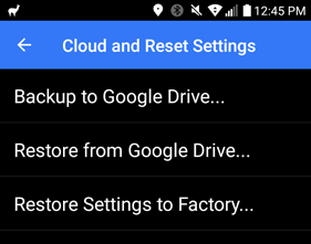 V1Driver Android Cloud and Reset Settings