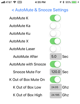 V1Driver AutoMute and Snooze Settings