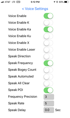 V1Driver Voice Settings