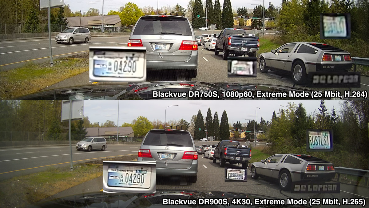 Blackvue DR900S vs. DR750S Delorean license plate comparison