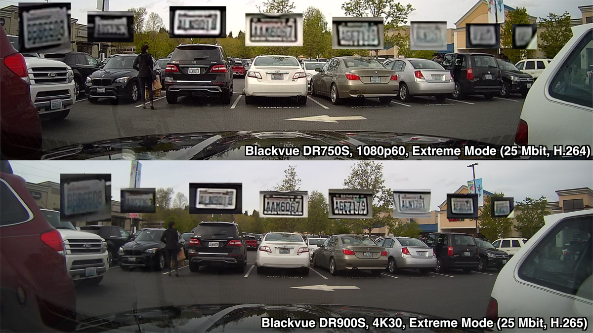 Blackvue DR900S vs DR750S license plate comparison in parking lot