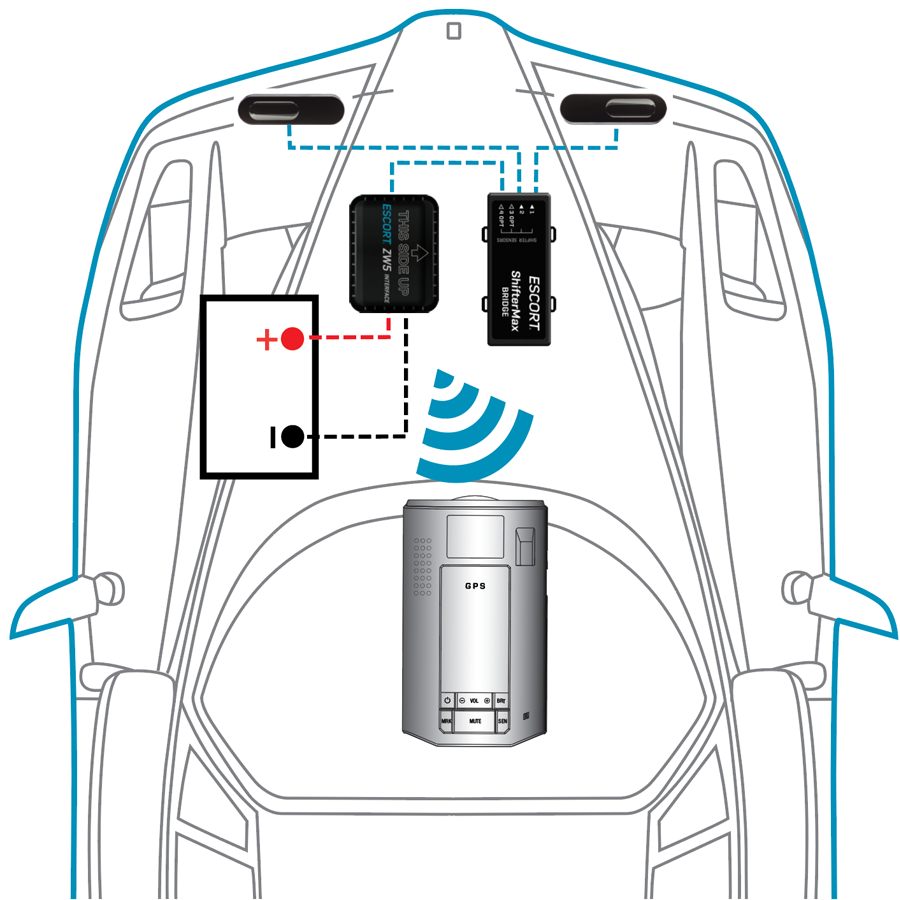 Escort ZW5 wireless car diagram