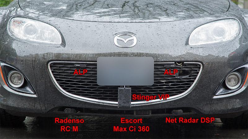 Remote Radar Detectors Mounted in Miata Grill: Stinger VIP, Radenso RC M, Escort Max Ci 360, Net Radar DSP
