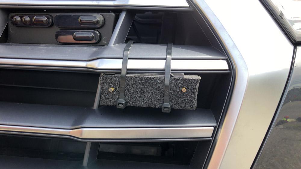 Stinger fibers installed in foam on car