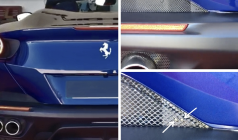 Stinger Fibers laser jammers installed in a Ferrari grill
