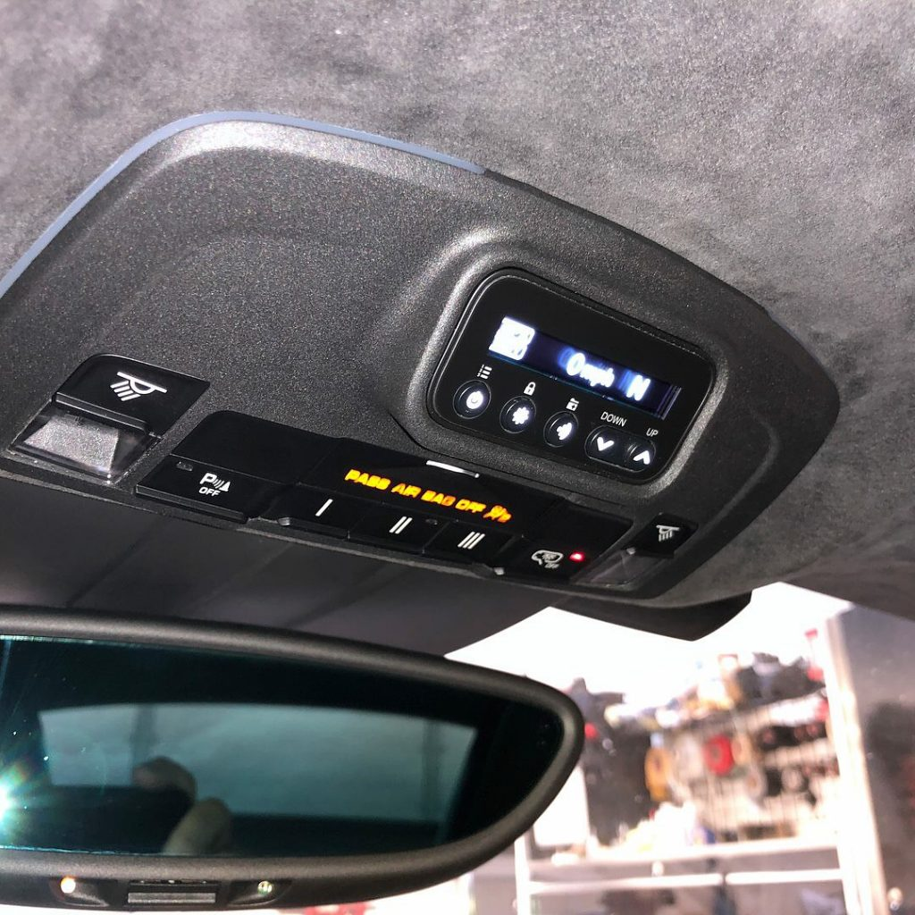 Radenso RC M installed in Porsche headliner, by JK Automotive