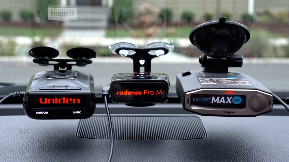 Uniden R3, Radenso Pro M, and Escort Max 360c on windshield