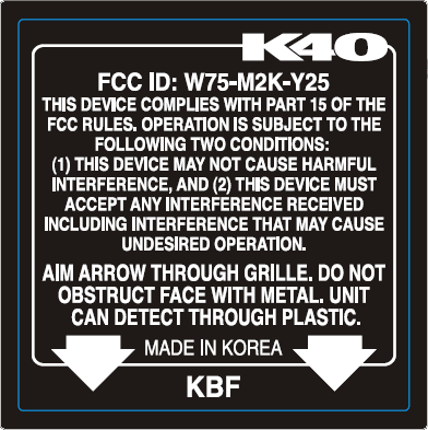 K40 LNA remote FCC label