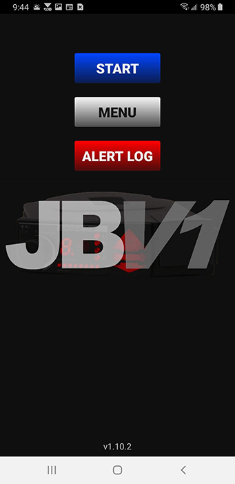 JBV1 home screen with blue start button