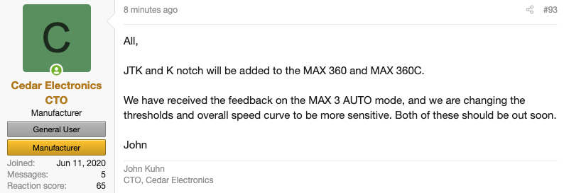 RDF Max 3 Auto Mode Firmware Update Coming