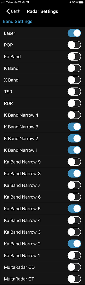 Max 3 Band Settings in Escort Live