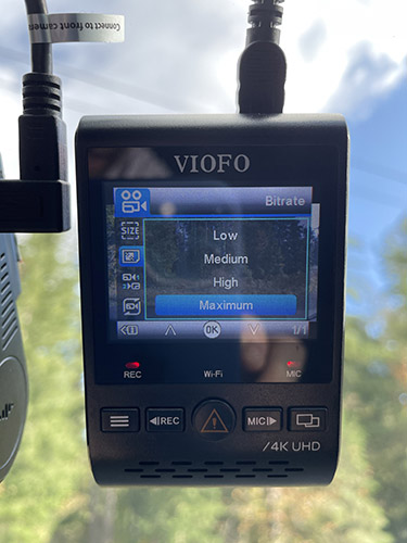 Viofo A129 Pro bitrate options