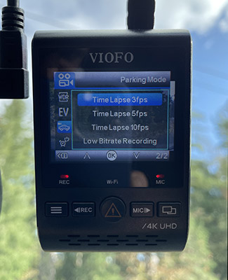 Viofo A129 Pro timelapse and low bitrate parking recording