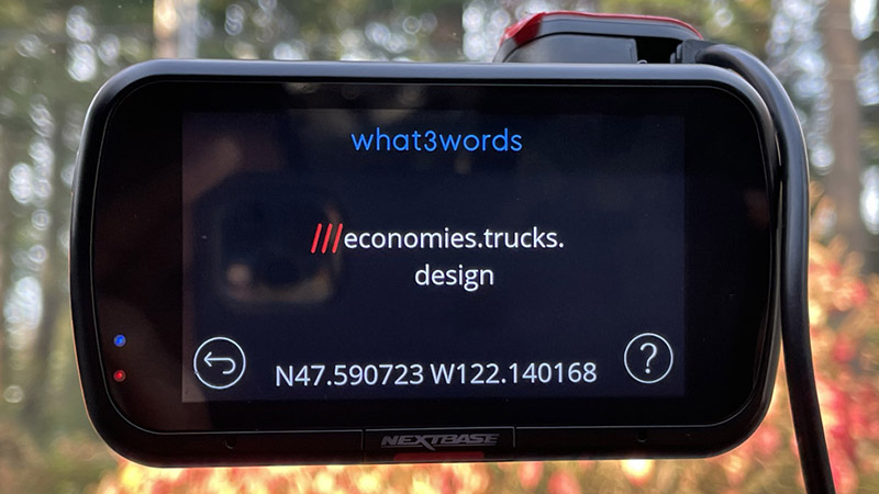 Nextbase 622GW what3words