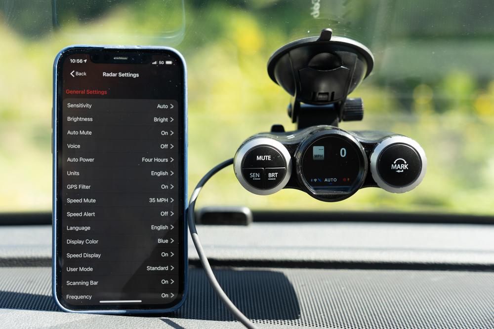 Cobra Road Scout with iPhone iRadar settings