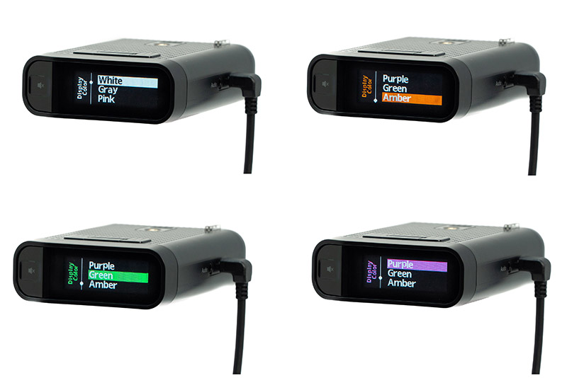 Radenso DS1 multicolor display in white, amber, green, purple